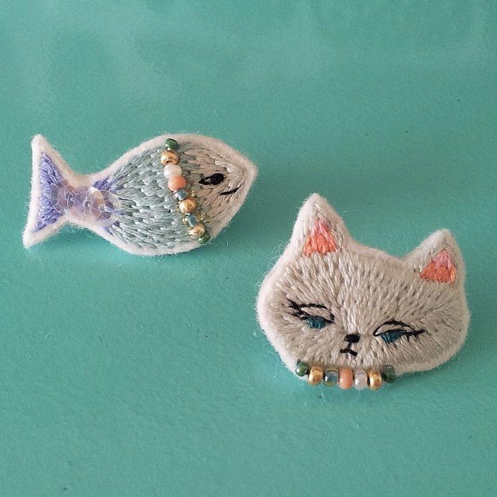 猫とお魚のピアス | きのこの針仕事 on the BASE