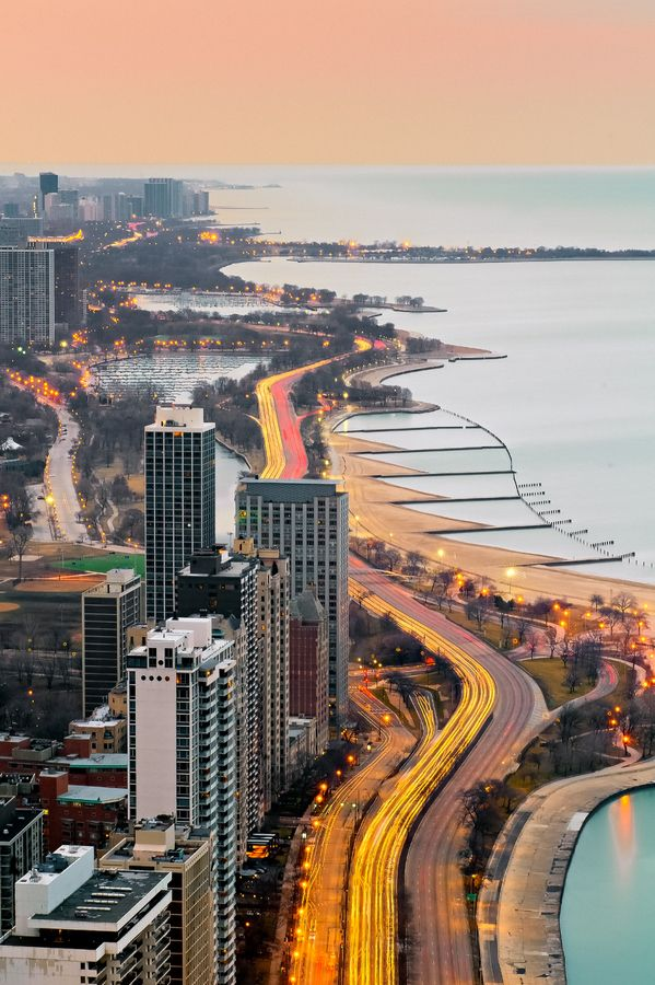 Chicago, downtown and Lake Michigan.As Day Turns to Night (by John Harrison)