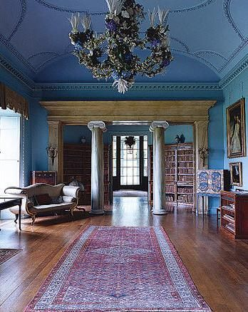 Looking into the Llibrary from the Drawing Room - Port Eliot, Cornwall England:
