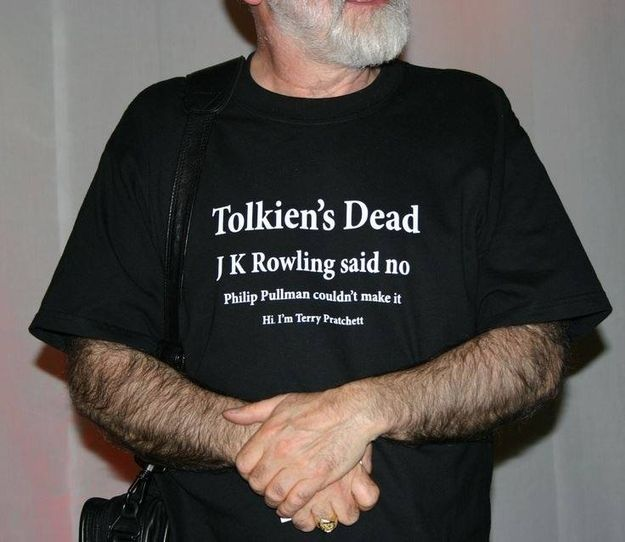 Love this man! Terry Pratchett, for wearing this T-shirt. | 29 People Who Make You Proud To Be British