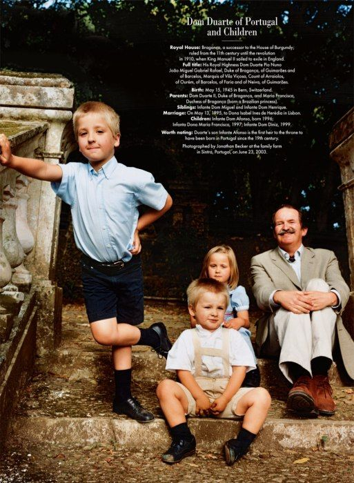 THE LOCAL HEIR Portugal's Dom Duarte Pio, Duke of Braganza, with his children, photographed by Jonathan Becker at the family farm in Sintra,...