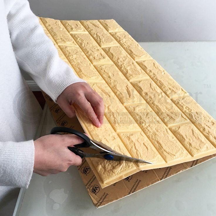 3D adesivos de parede parede de tijolo padrão de auto adesivo papel de parede quarto sala decorativo à prova d' água anti colisão em Papéis de parede de Melhoramento Da casa no AliExpress.com | Alibaba Group