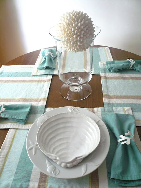 beautiful white seashell plates from pottery barn tablescape place setting beach - Ocean Decor