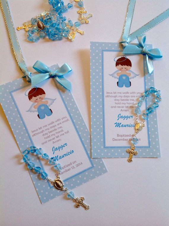 Baptism boy favors bookmark with mini rosaries included