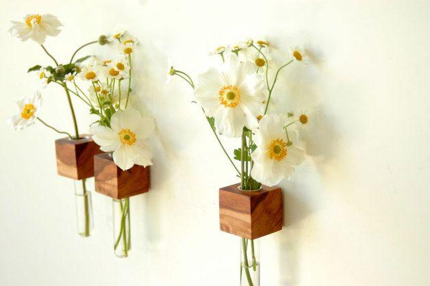 Vasen - *1* Vase Kühlschrankmagnet Holz Magnet - ein Designerstück von kerfra bei DaWanda