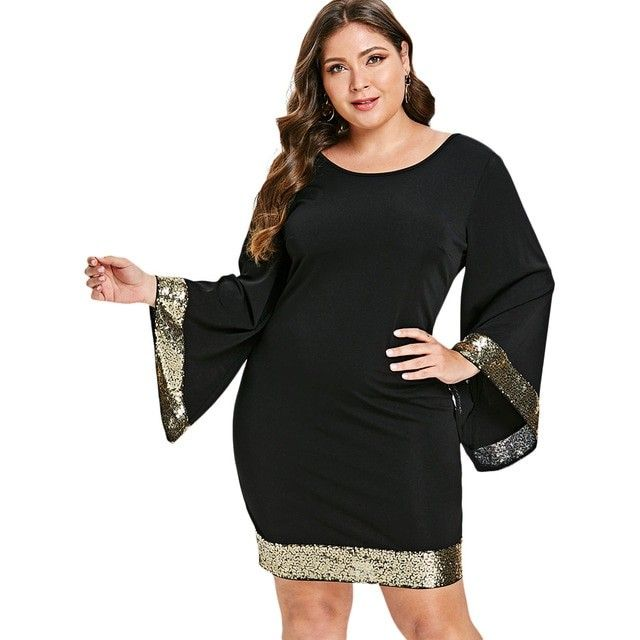 23819f3217e0b Wipalo Plus Size 5XL-L Bell Flare Sleeve Sequin Elega… | Woman ...