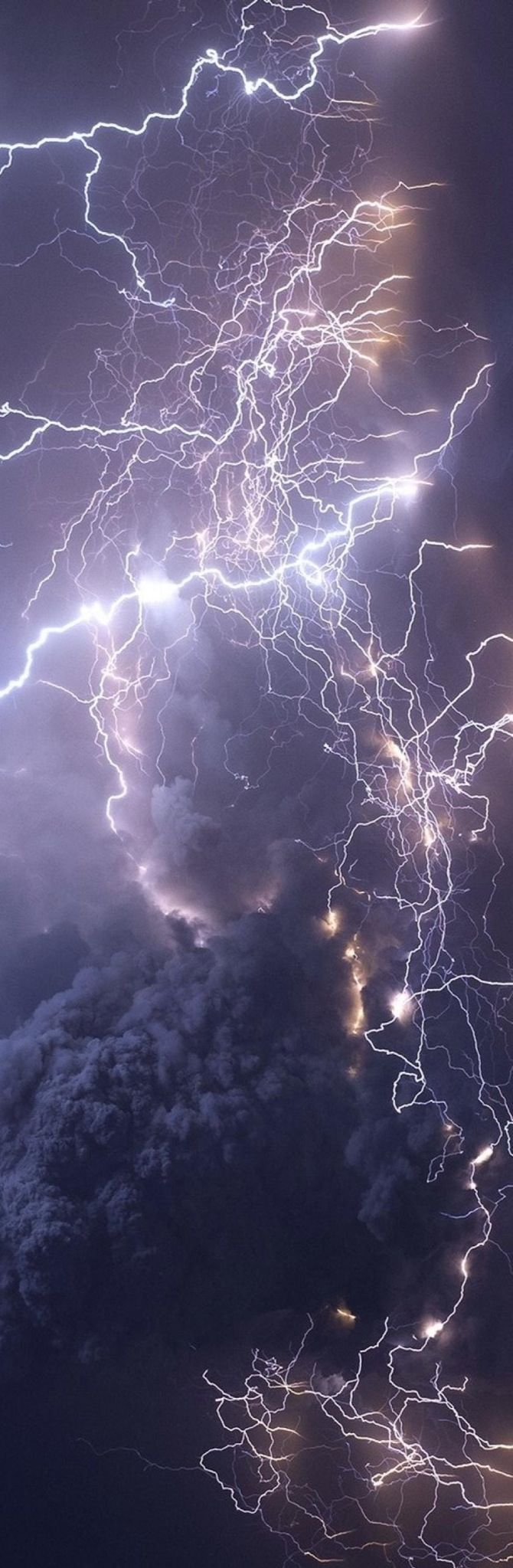 Volcanic ash cloud lightning created by static electricity as the particles rub and tumble together.