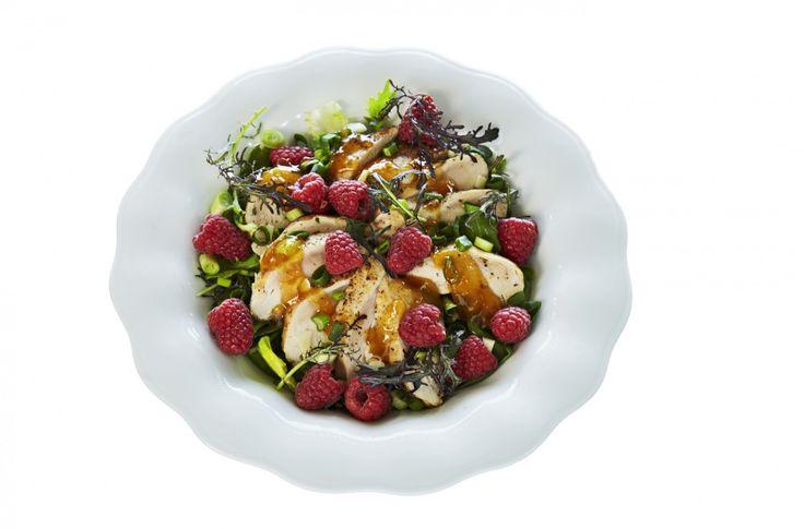 Kyllingsalat med bringebær