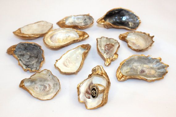 Gold Oyster Shell Ring Dish