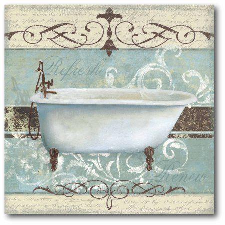 Bath Blue I Gallery Wrapped Canvas Wall Art 16x16 Walmart Com Bathroom Prints Wall Canvas Bathroom Wall Decor