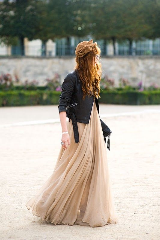 I love a leather jacket with a flow-y maxi dress.