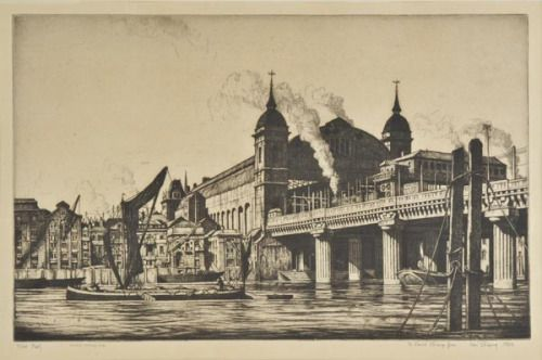 Cannon Street Station, 1923, by Ian Strang. An engraving sold at auction today for £380. Frank Brangwyn's moodier take on the station is here.