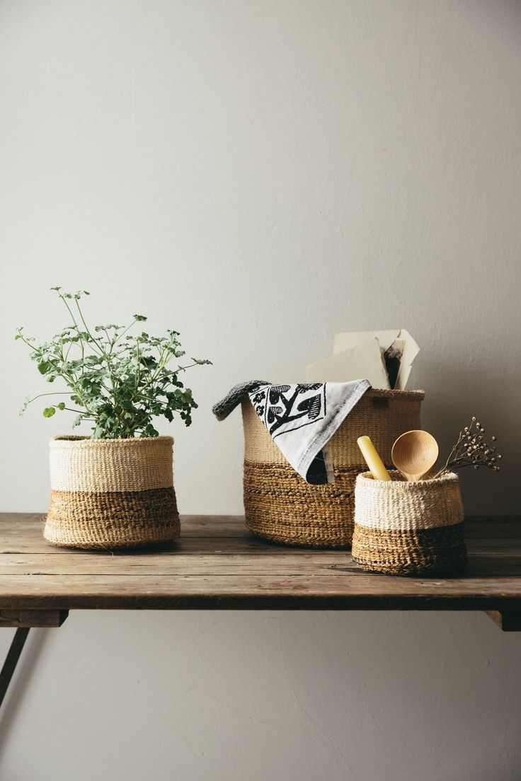 Banana fibres and local sisal grass create a beautiful colour block effect in these woven baskets.