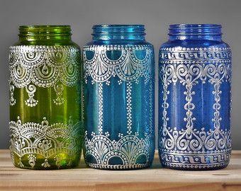Boho Henna Art Vase Ombre Home Gift Glass Bottle Table by LITdecor