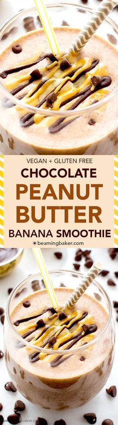 Chocolate Peanut Butter Banana Smoothie (V+GF): a protein-rich, 6-ingredient recipe for a creamy chocolate peanut butter lover's smoothie. Tastes like a sundae. #Vegan #GlutenFree | http://BeamingBaker.com