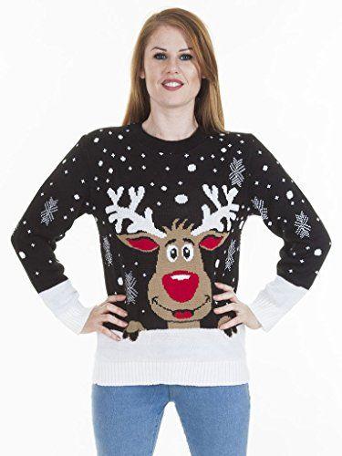 (M) WOMENS KNITTED RUDOLF REINDEER LADIES XMAS CHRISTMAS NOVELTY JUMPER SWEATER TOP | BLK - LS red nose reindeer knit jmpr | ML 12/14