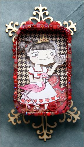 Queen of Hearts altered Altoids tin