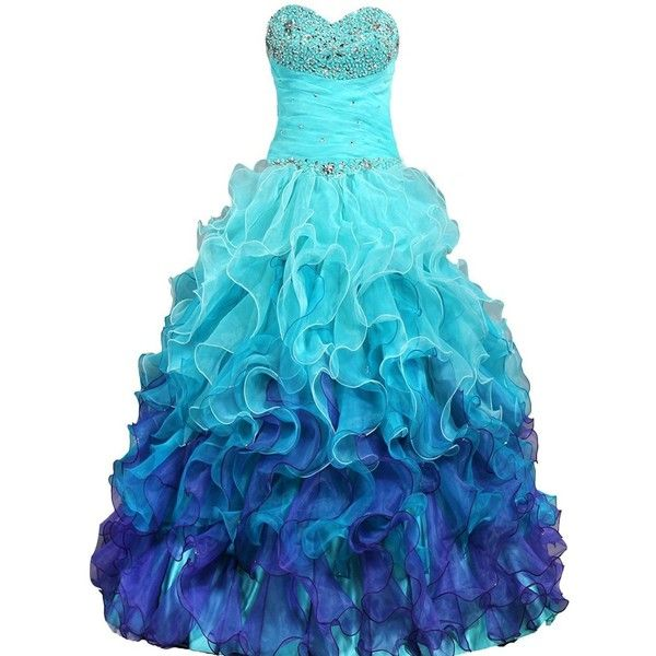 DianSheng Beaded Strapless Rainbow Quinceanera Dresses Ruffle Prom... ($129) ❤ liked on Polyvore featuring dresses, strapless ruffle dress, rainbow prom dress, blue beaded dress, frilly dresses and strapless dress
