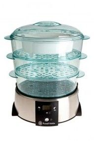 Features/Specifications Product code: 10969 3 Baskets each with 3 litre food capacity Separate rice bowl Digital display with 120 minute countdown timer Baskets stack into each other for easy storage Safe and easy water top-up feature whilst steaming Recipes included For domestic use only