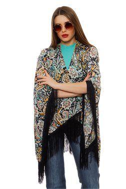 Paisley Print Fringed Kimono - ΡΟΥΧΑ -> Kimono & Jackets | Made of Grace