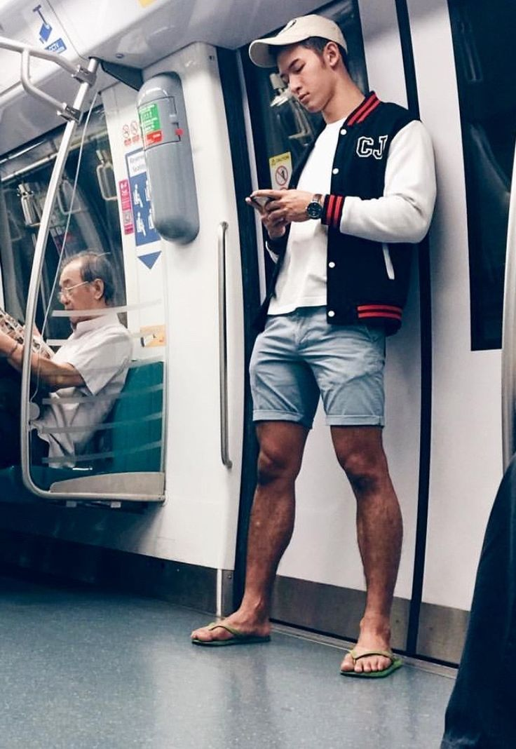 """scurtis92: """"Cutie in Denim Shorts and Flip Flops riding the train """""""