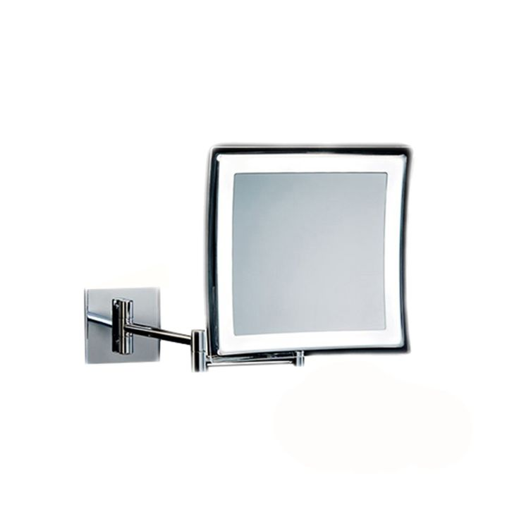 Beautiful high-end luxurious modern illuminated battery operated magnifying mirror with swiveling arm in chrome.