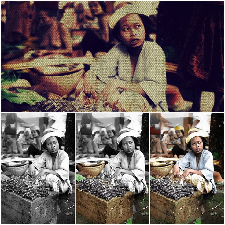 The retouch and colouring process Bali old Photo by gus &Conspiracy.Inc