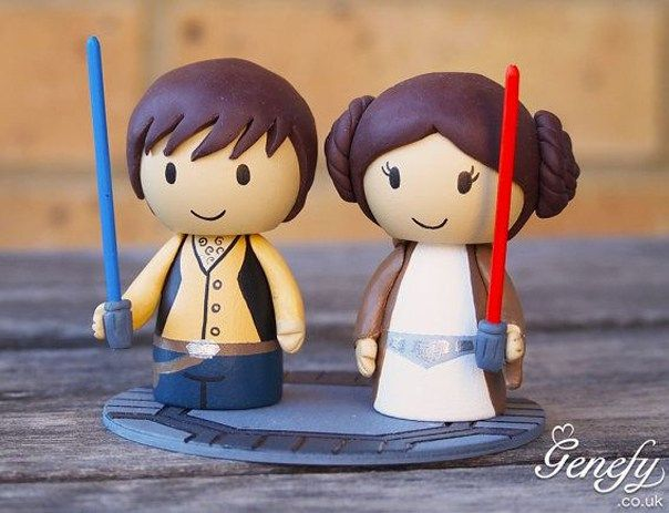 Gorgeous Geeky Cake Toppers - Star Wars Han Solo and Princess Leia Wedding Cake Topper - Genefy Playground