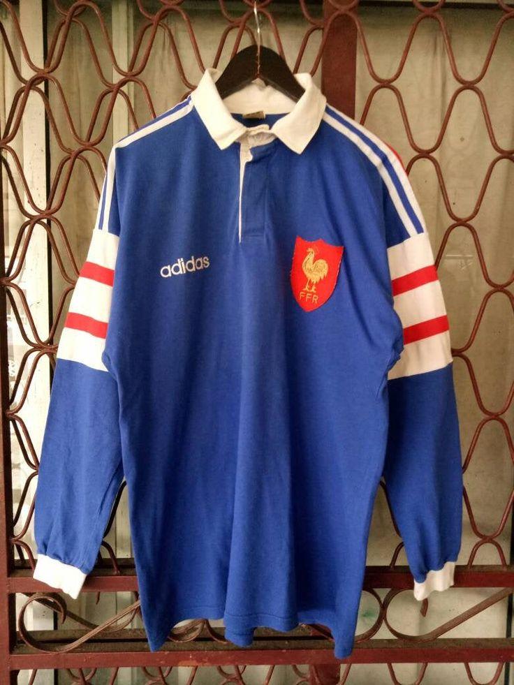 Vintage 90s ADIDAS FRANCE RUGBY Jersey Xl Size Sportswear