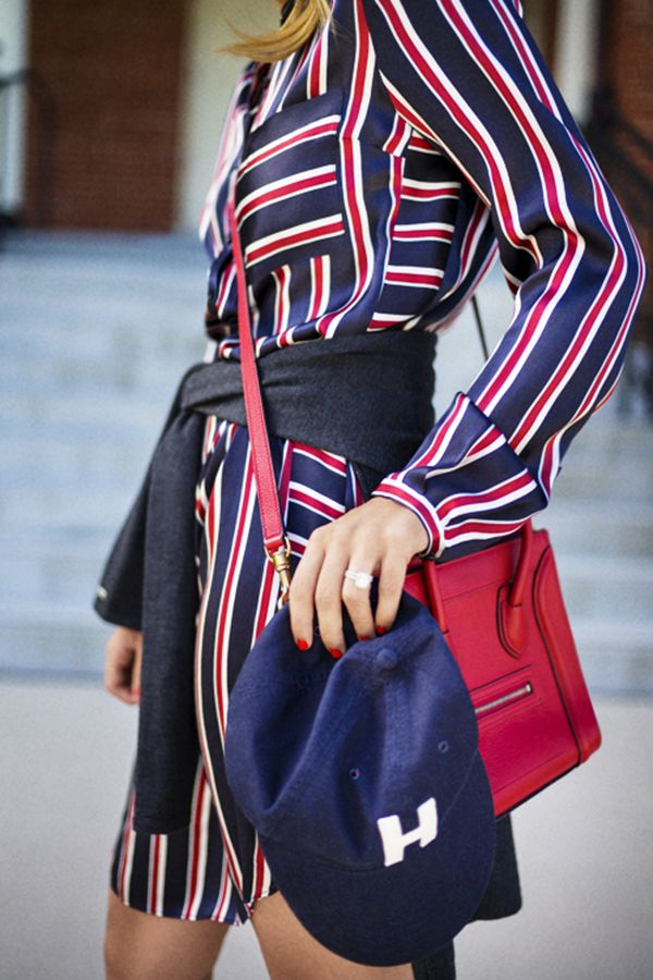 Julie Engel of Gal Meets Glam shows that there are endless ways to style this classic striped dress. Share how you wear it with #MyTommyMag