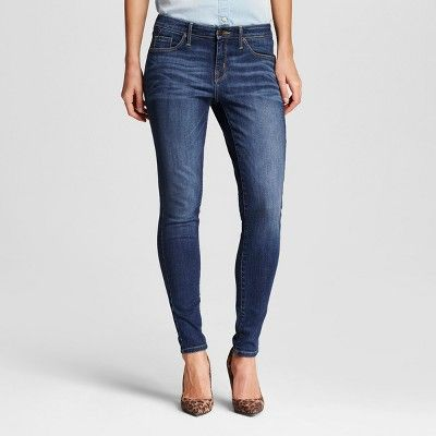 Women's Mid Rise Skinny Jeans - Mossimo Dark Wash 14 Long, Blue