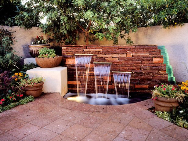Backyard Design: Eclectic-Style Water Feature http://www.hgtv.com/landscaping/your-backyard-design-style-finder/pictures/index.html?soc=pinterest