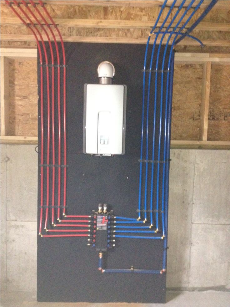 Install of a pex manifold with a rinnai tankless water for Pex hot water heating system
