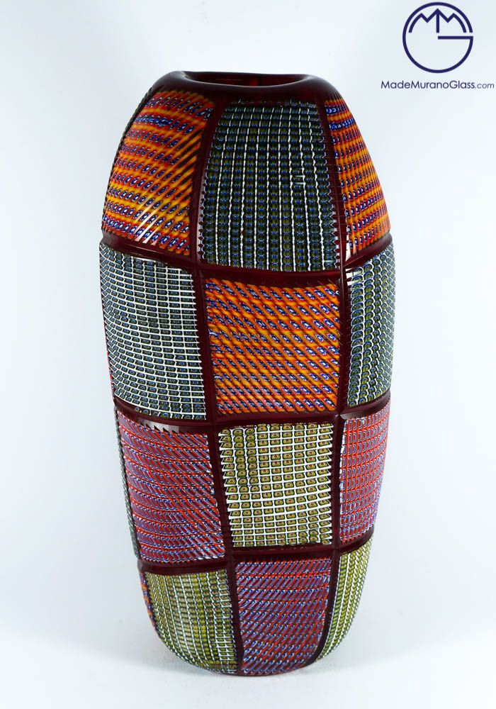 #Exclusive #Murano #collection #vase in #Murano #glass with #multicolour #Murrine.--- #Vaso multicolor in #vetro #Murano inciso a freddo da #artisti #veneziani.