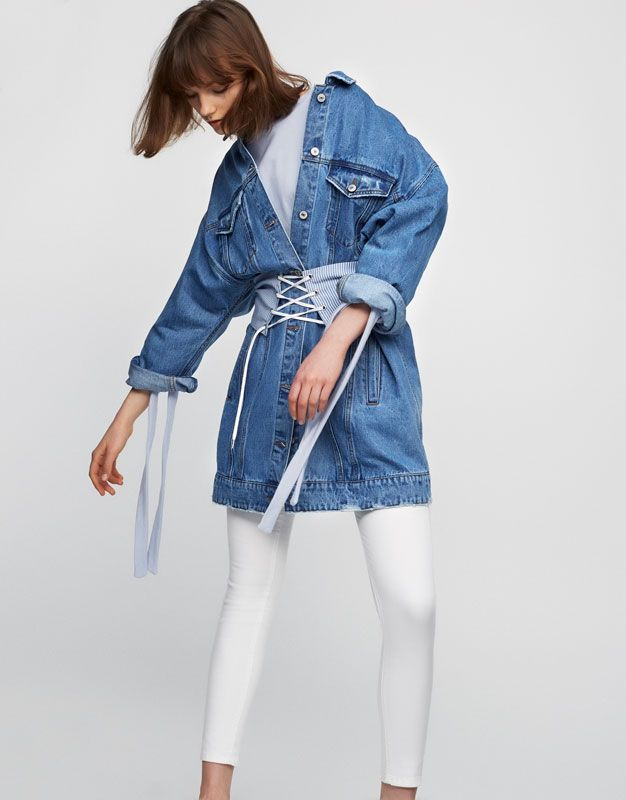 Long ripped denim jacket - Coats and jackets - Clothing - Woman - PULL&BEAR United Arab Emirates