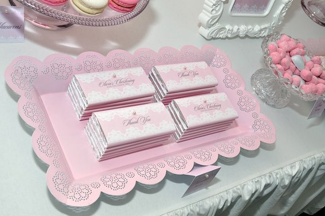 Lovely Lace & Pearl Christening | CatchMyParty.com