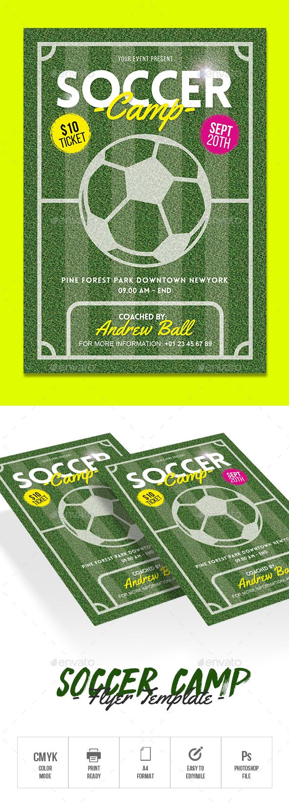 Soccer Camp — Photoshop PSD #football #advertisement • Download ➝ https://graphicriver.net/item/soccer-camp/20516131?ref=pxcr