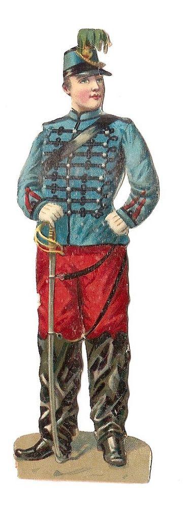 Soldat - - Uniforme Sabre Guerre  - - Chromo Decoupi  - Victorian Scrap