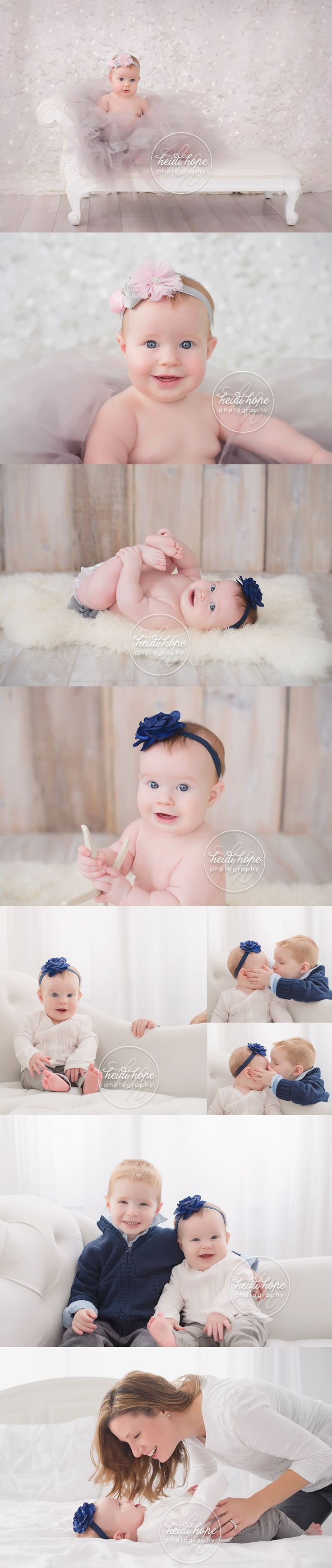 6 month old baby girl session with big brother and family