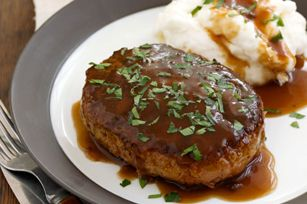 Salisbury Steak. Quick meatloaf and potatoes. Recipe from Kraft that I could easily substitute fresh for packaged ingredients (meat, bread crumbs, egg, pan gravy and a potato cooked any which way).