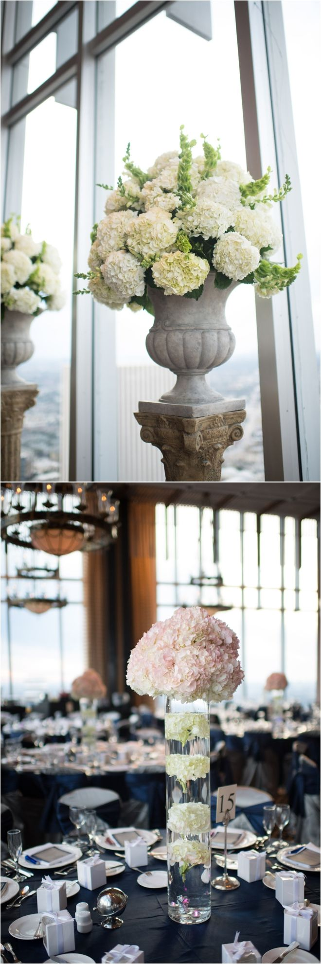 Pink hydrangea centerpiece ~ Photo: Love Lee Photography ~ Venue: Petroleum Club of Houston