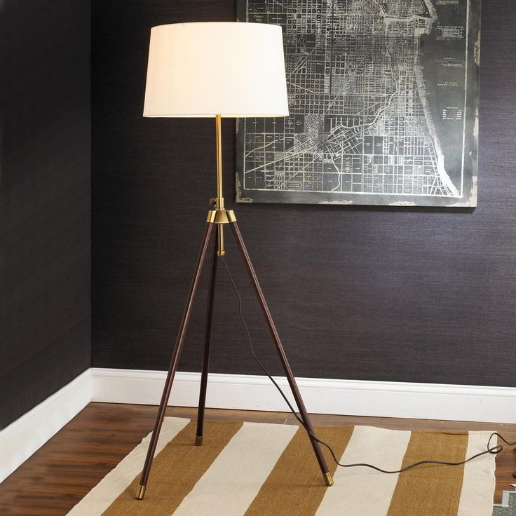 Stained wood and brass tripod floor lamp