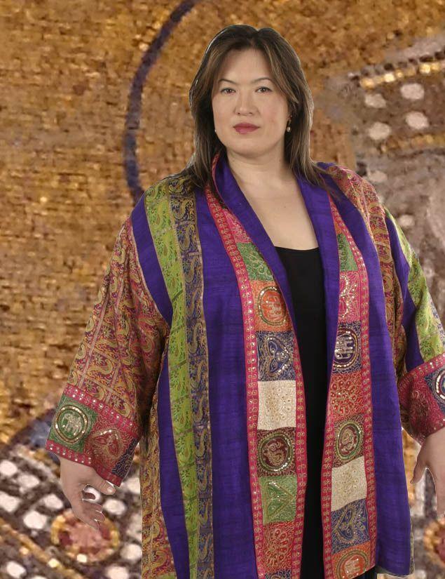 b9ef436a3bf Plus Size Special Occasion Kimono Jacket Sari Silk Gold Fuschia Purple  Evening Jackets
