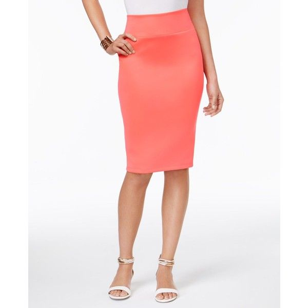 Thalia Sodi Scuba Pencil Skirt, ($25) ❤ liked on Polyvore featuring skirts, candy coral, coral pencil skirt, knee length pencil skirt, white knee length pencil skirt, white fitted skirt and white pencil skirt
