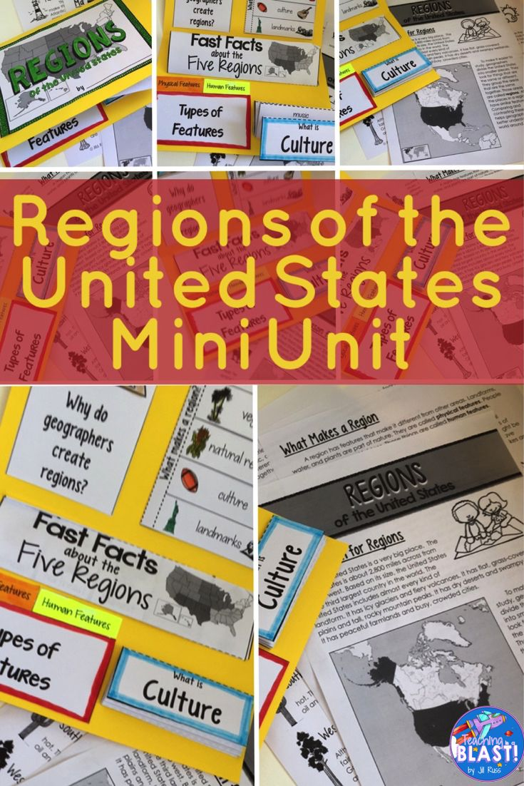 An introduction to the five regions of the United States: why we have regions, the characteristics of regions, physical features, human features, climate, natural resources, and culture. Includes mini-lapbook and informational text. Find out here: https://www.teacherspayteachers.com/Product/Regions-Introduction-Lapbook-Unit-with-Informational-text-Five-Regions-1330119