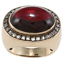 14k Gold Garnet and 3/5ct TDW Diamond Estate Ring (I-J, SI1-SI2)