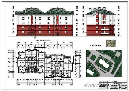 2-х секционный 4-ех этажный жилой дом - Чертежи.ру