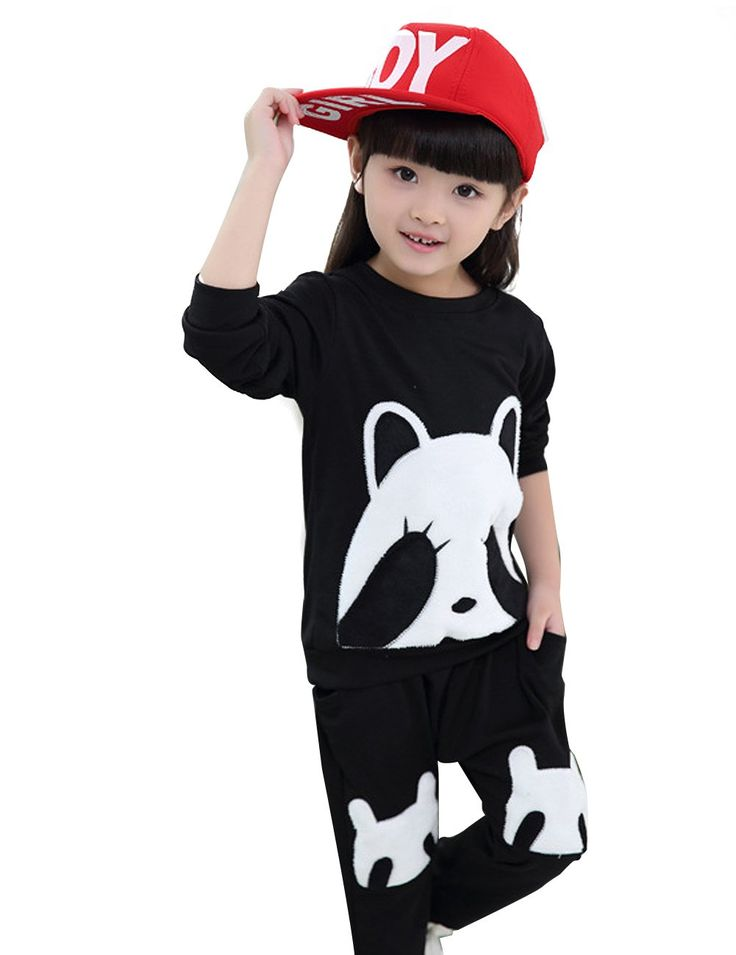 YJ.GWL Little Girls Panda Outfits Casual Cotton Pants Sets Long Sleeve Sets(Black,2T). Material: Cotton. Lovely Cartoon Panda Design,well made and durable,Soft and Comfortable. Season: Spring,Fall,Winter. Simple trendy outfits, make your little girl look attractive and fashionable!. Package include: 1 * Outfits(shirt + trousers).