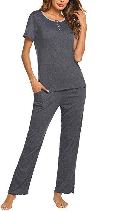 65698bd6b25 HOTOUCH Women s Henley Short Sleeve Shirt Elastic Waist Pants Sleepwear  Pajamas Set Grey M