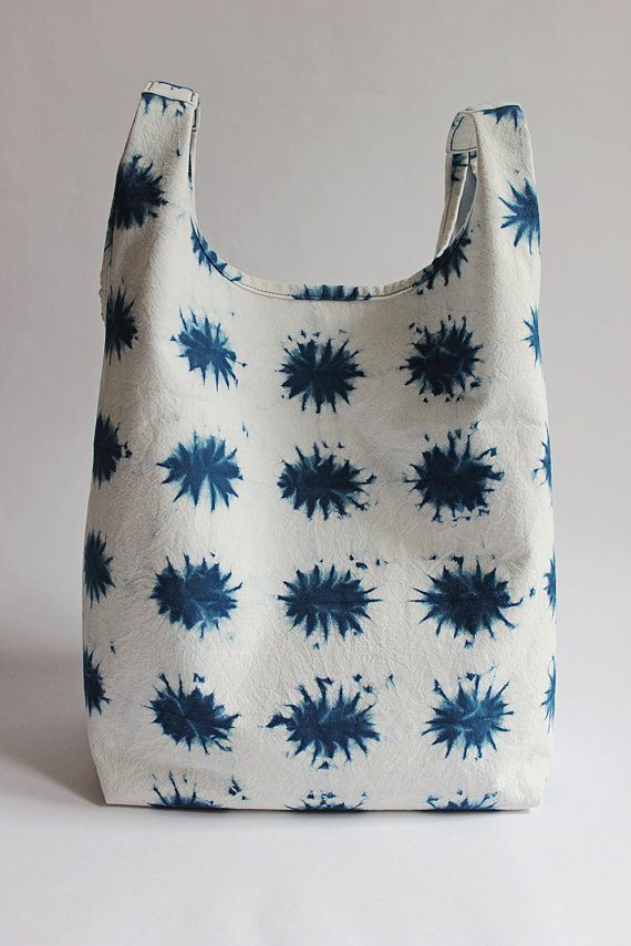 Little Suns Shibori Hand Dyed Cotton Tote Bag Japanese Bag Handbag Indigo Blue